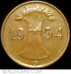 Image #2 of 1 Reichspfennig 1934 G