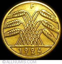 Image #2 of 5 Reichspfennig 1924 F