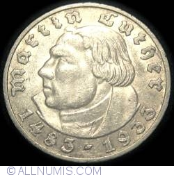 Image #2 of 5 Reichsmark 1933 A - 450th birth anniversary of Martin Luther