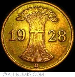 Image #2 of 1 Reichspfennig 1928 D