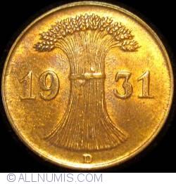 Image #2 of 1 Reichspfennig 1931 D