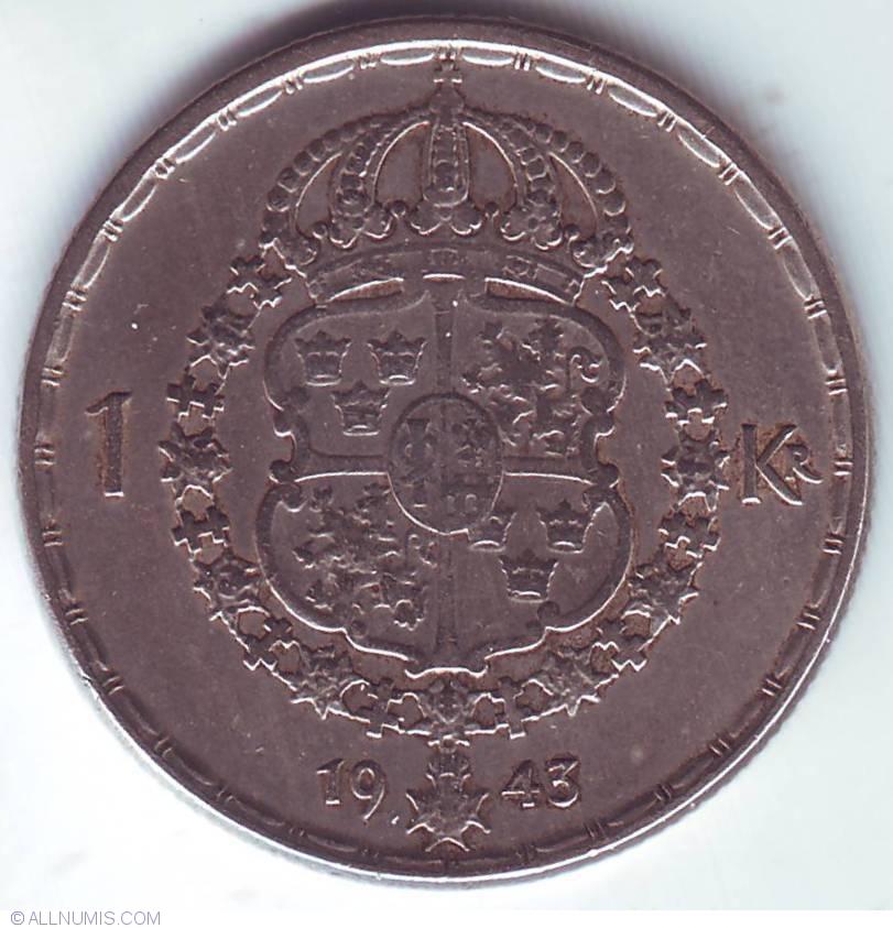 1 Krona 1943, Gustaf V (1907-1950) - Sweden - Coin - 24437