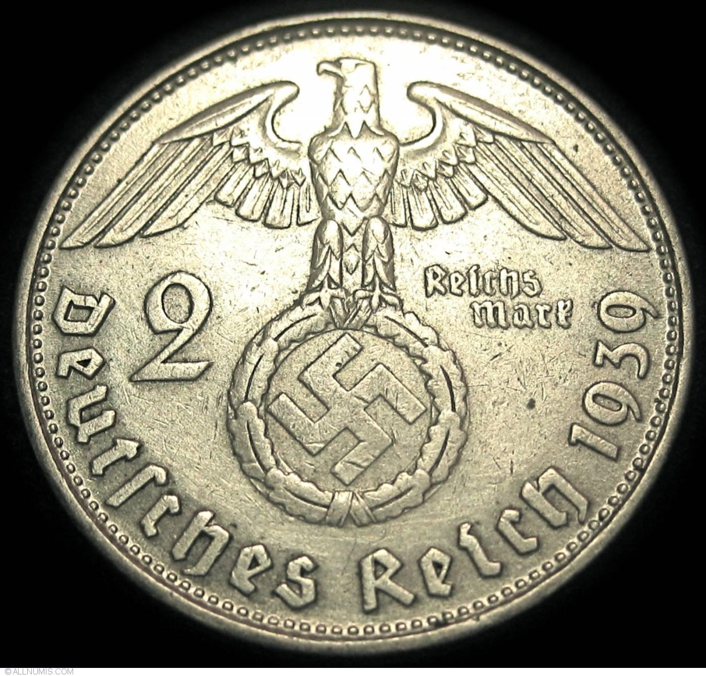 1936-5 Mark German Silver Coin WW2  Third Reich Swastika Reichsmark 1