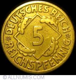 Image #1 of 5 Reichspfennig 1925 F (large 5)