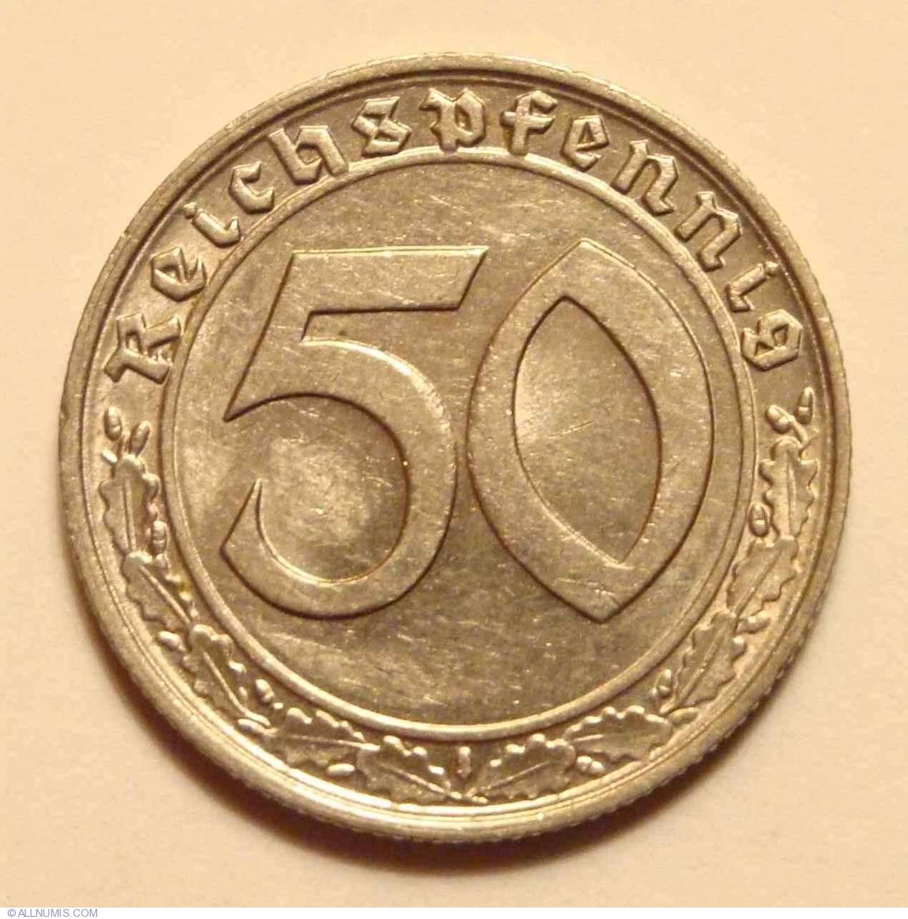 50 Reichspfennig 1939 E Third Reich 1933 1945 Germany Coin 9049