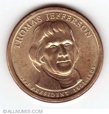2007 THOMAS JEFFERSON PRESIDENT DOLLAR P or D MINT 1-COIN BRILLIANT UNCIRCULATED