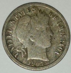 Image #1 of Barber Dime 1907 S