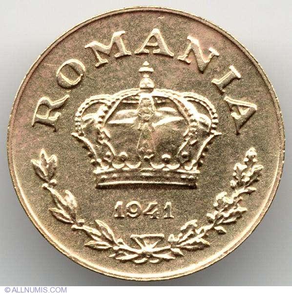 Romania 1 Leu coin 1941 KM#56 Mihai I King corn low grade