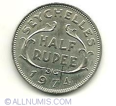 Image #2 of 1/2 Rupee 1974