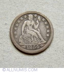 Image #1 of Seated Liberty Dime 1854 O - Variant with arrows at date