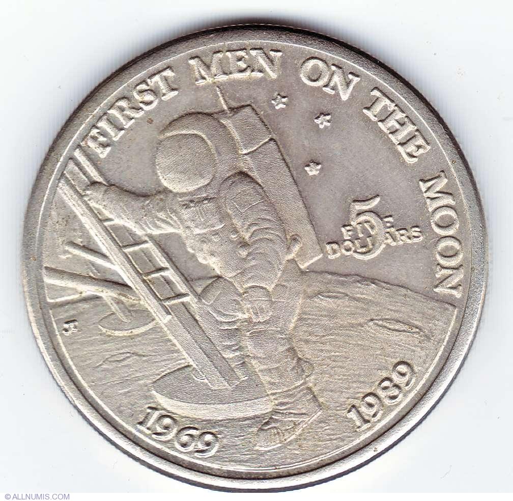 $5 Dollar Moon Landing UNC 1989 US Marshall Islands