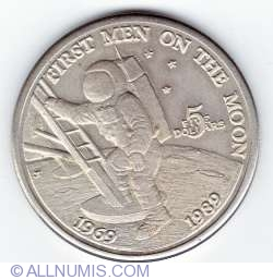 Image #1 of 5 Dollars 1989 - 30 years since first men on the moon