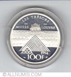 Image #2 of 100 Francs 1994 - Bicentennial of the Louvre