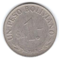 Imaginea #1 a 1 Peso Boliviano 1969