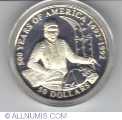 Image #1 of 50 Dollars 1993 - 500 years of America, Juan de la Cosa