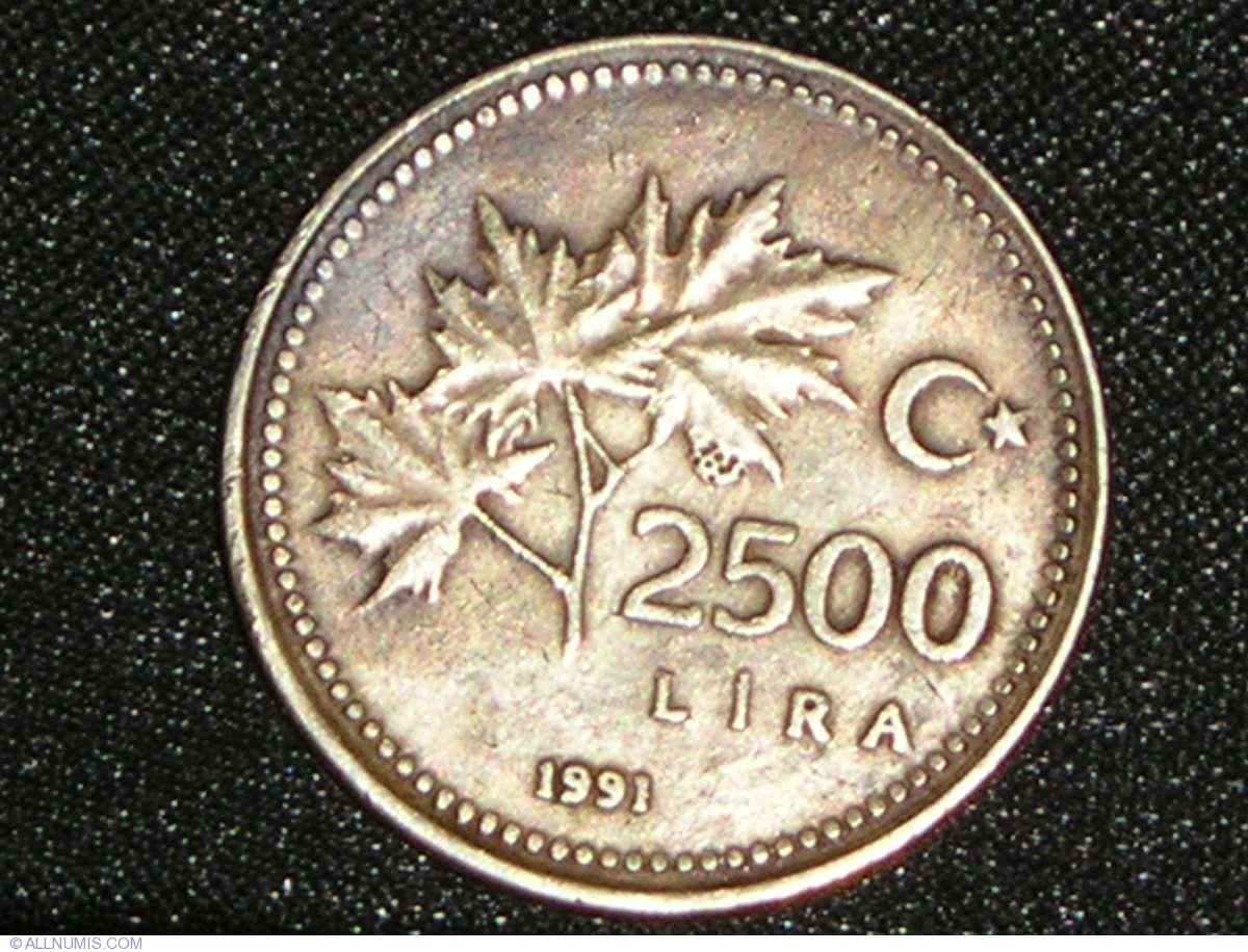 2500 Turkish Lira 1991