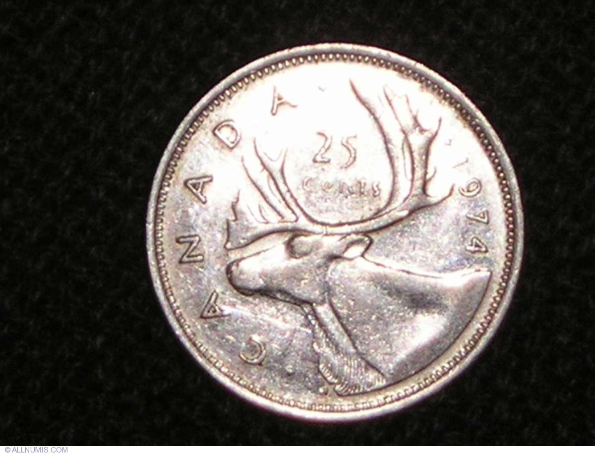 25 Cents 1974 Elizabeth Ii 1953 Present Canada Coin