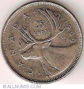 25 Cents 1969 Elizabeth Ii 1953 Present Canada Coin 1744