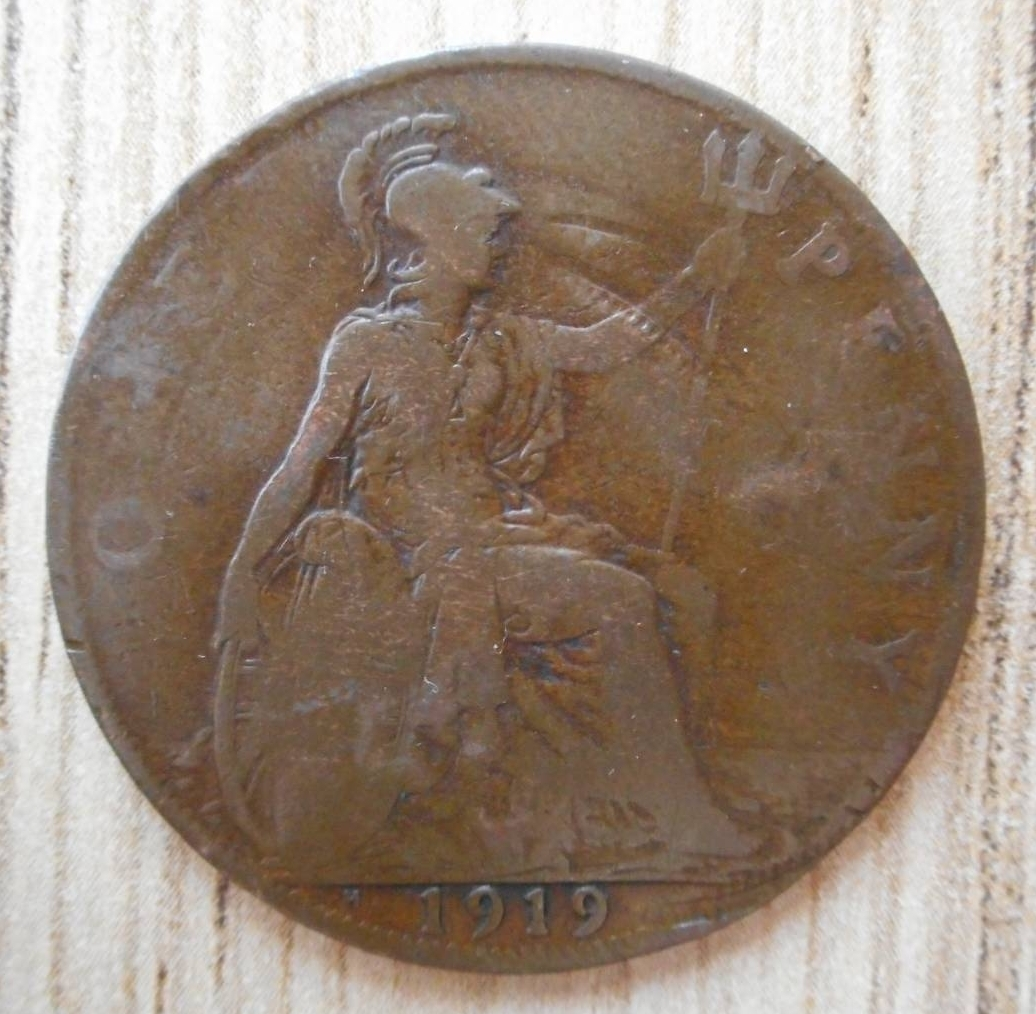Penny 1919 H George V 1910 1936 Great Britain Coin