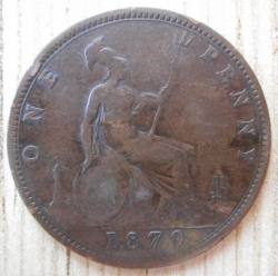 Penny 1879 large year spacing, raised lines in wreath