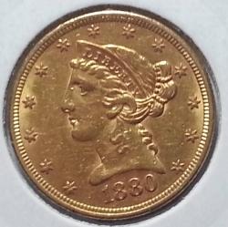 Image #2 of Gold Half Eagle 1880