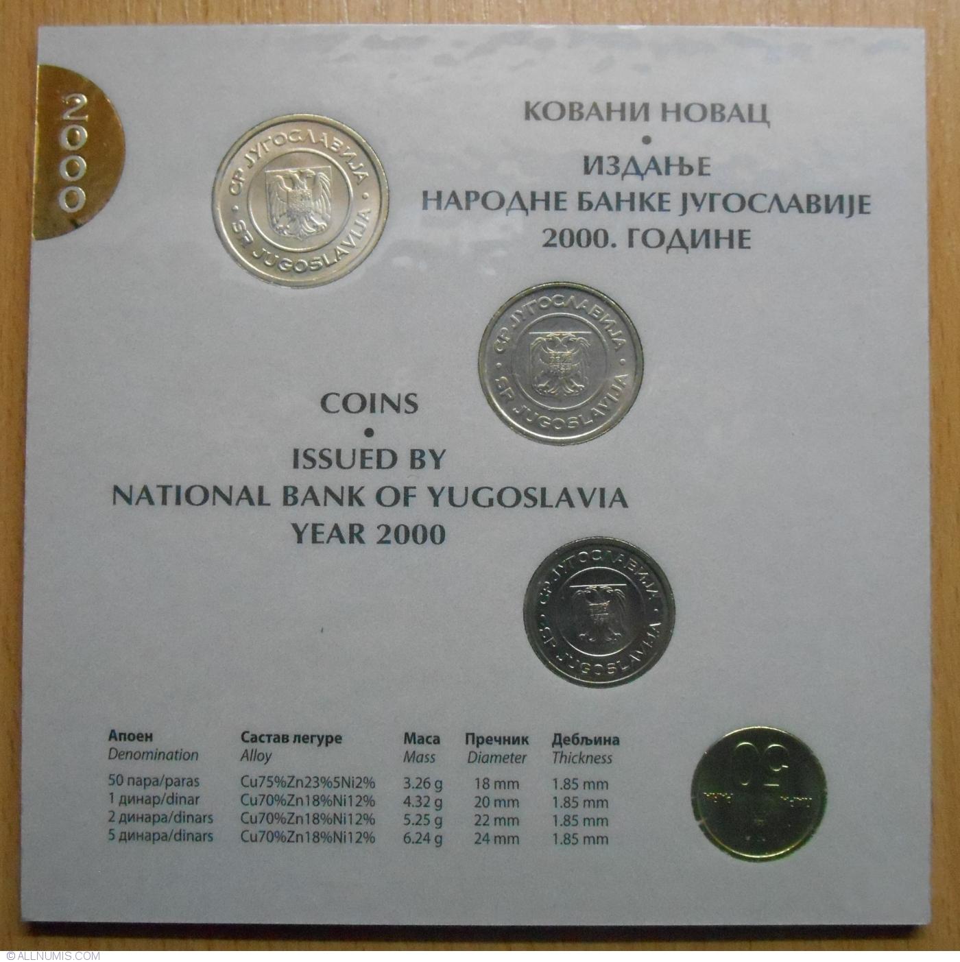 5 dinara 4 Coins Yugoslavia Official Central Bank Mint Set 2000 50 Para 1 2