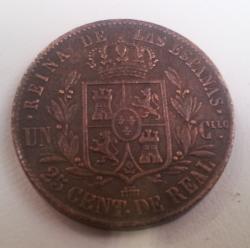 Image #1 of 1 Cuartillo - 25 Centimos 1854