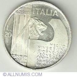 Imaginea #2 a 20 Lire 1928 - Mussolini