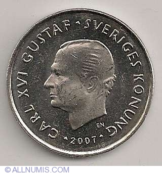 1 Krona 2007 Carl Xvi Gustaf 1973 Present Sweden Coin 2919