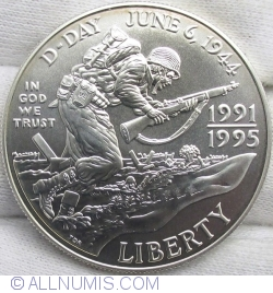 Image #2 of 1 Dollar 1993 D - 50th Anniversary of World War II