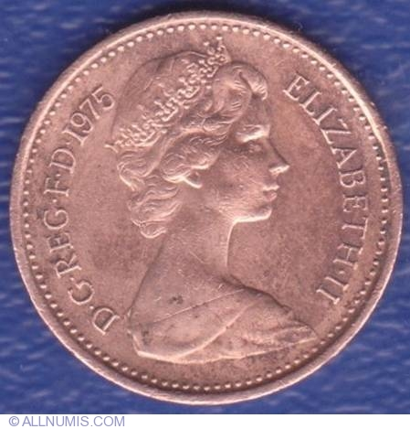 GREAT BRITAIN 1975-1//2 New Penny Bronze Coin Queen Elizabeth II