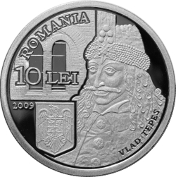 Image #1 of 10 Lei 2009 -  Numismatic set dedicated to Vlad Ţepeş on the occasion of celebrating 550 years since the first mention in writing of Bucharest, under his rule, on 20 September 1459