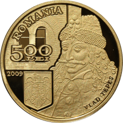 Image #1 of 500 Lei 2009 - Numismatic set dedicated to Vlad Ţepeş on the occasion of celebrating 550 years since the first mention in writing of Bucharest, under his rule, on 20 September 1459