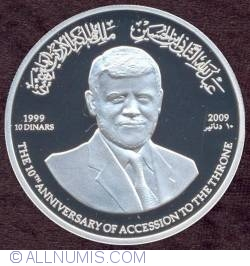Image #1 of 10 Dinars 2009  - 10th Anniversary Of King Abdullah's Reign