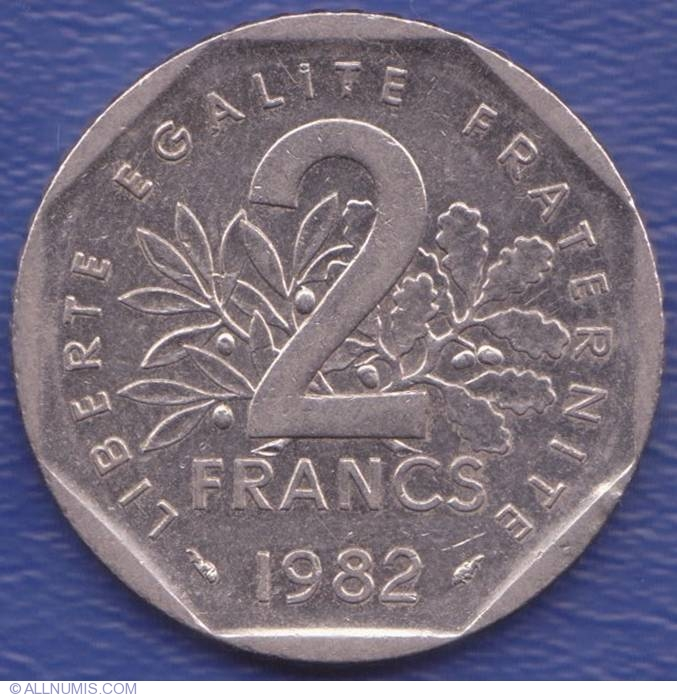 coin of 2 francs 1982 from france id 3711. Black Bedroom Furniture Sets. Home Design Ideas