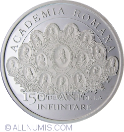 Image #2 of 10 Lei 2016 - 150 years since the establishment of the Romanian Academy - silver coin