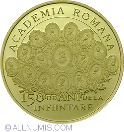 Image #2 of 100 lei 2016 - 150 years since the establishment of the Romanian Academy - set of three coins