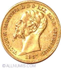 Image #2 of 20 Lire 1857 (eagle's head)