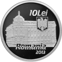 Image #1 of 10 Lei 2013 - The centennial anniversary of the Academy of High Commercial and Industrial Studies (the present-day Bucharest University of Economic Studies) - silver coin