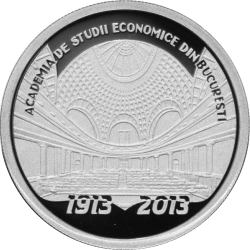 Image #2 of 10 Lei 2013 - The centennial anniversary of the Academy of High Commercial and Industrial Studies (the present-day Bucharest University of Economic Studies) - silver coin