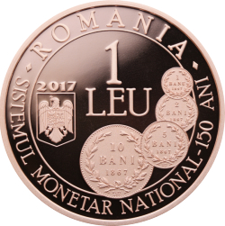 1 Leu 2017 - 150 years since the enactment of the law concerning the establishment of a new monetary system and the minting of national coins
