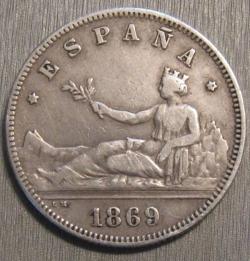 Image #2 of 2 Pesetas 1869 SN-M