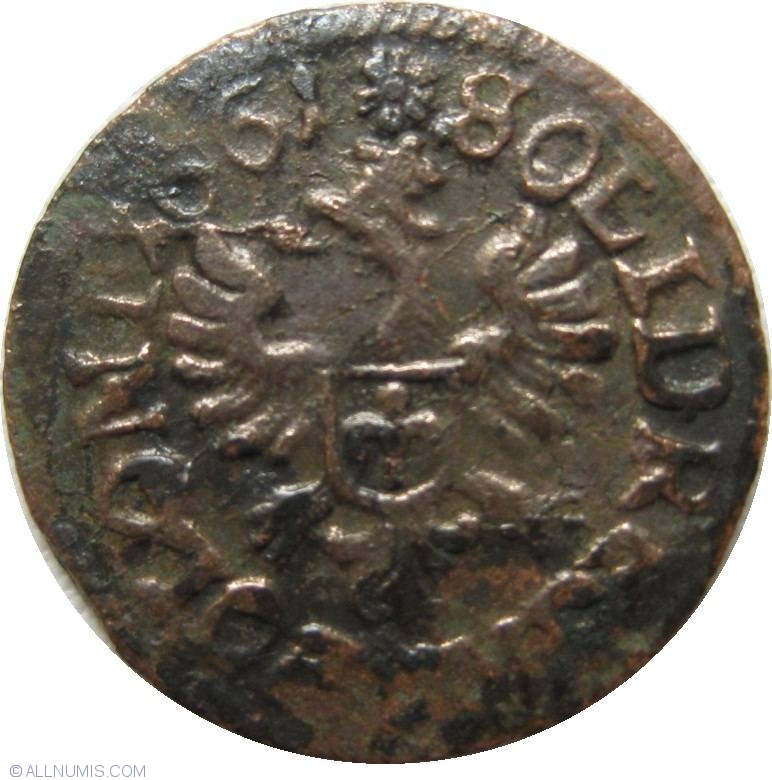 the letter l 1 solidus 1661 johan ii casimir 1648 1668 poland 1661