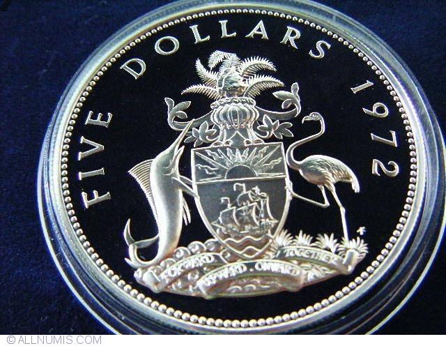 5 Dollars 1972 Commonwealth 1970 1979 Bahamas Coin