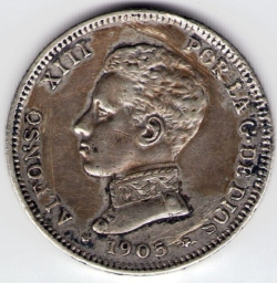 Image #2 of 2 Pesetas 1905 (05) SM-V
