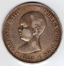 Imaginea #2 a 5 Pesetas 1888 (88) MP-M