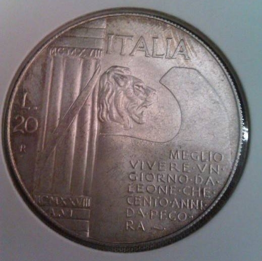 20 Lire 1945 - Mussolini, Italy - Fantasy coins - Coin - 32911