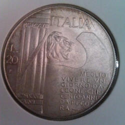 Imaginea #1 a 20 Lire 1945 - Mussolini