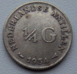 Imaginea #1 a 1/4 Gulden 1954