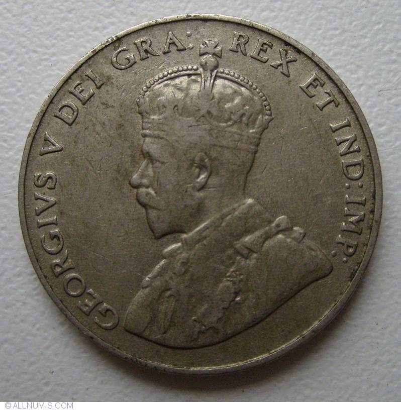 1924 Canada 5 Cents Nickel Coin Georges V